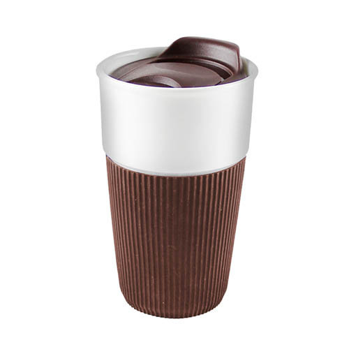 Kaheku Kaffeebecher To Go Porzellan mit Trinkdeckel Soft Grip braun 400 ml