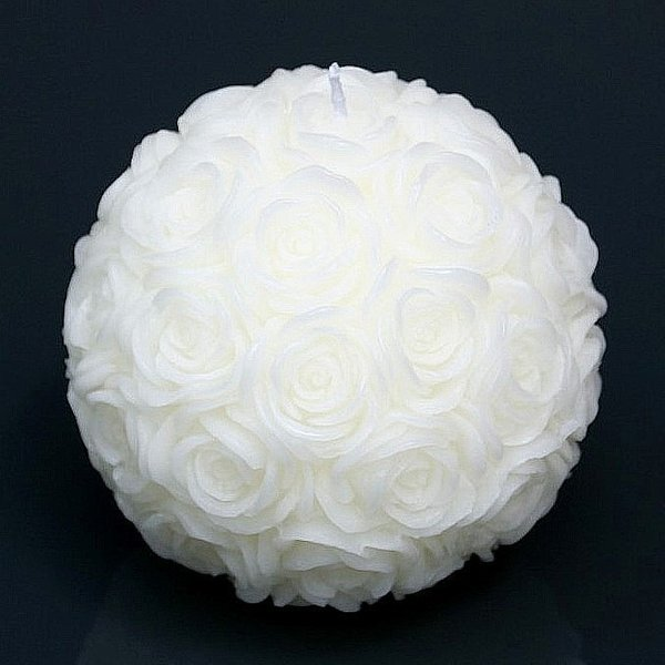 Rosenkugel-Kerze Rose Ball creme Hochzeit Party d12,5 cm